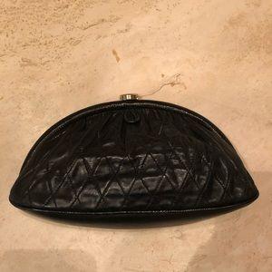 Chanel black lambskin clutch